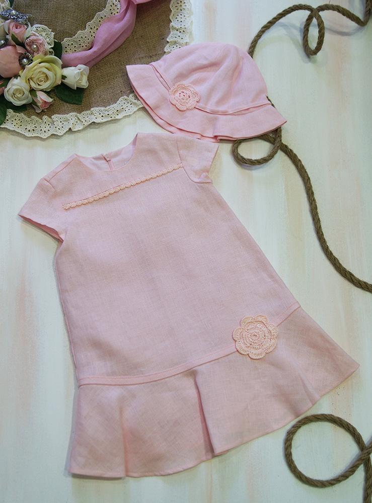 4381bd5f5d4f Προσφορές   Ρούχο βάπτισης λινό Cacharel ροζ με πλεκτό λουλούδι