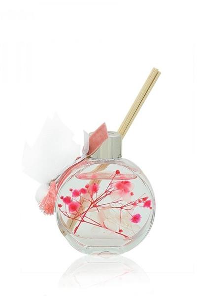 Μπομπονιέρα βάπτισης αρωματικό χώρου με αποξηραμένα λουλούδια και άρωμα Freesia 60ml.