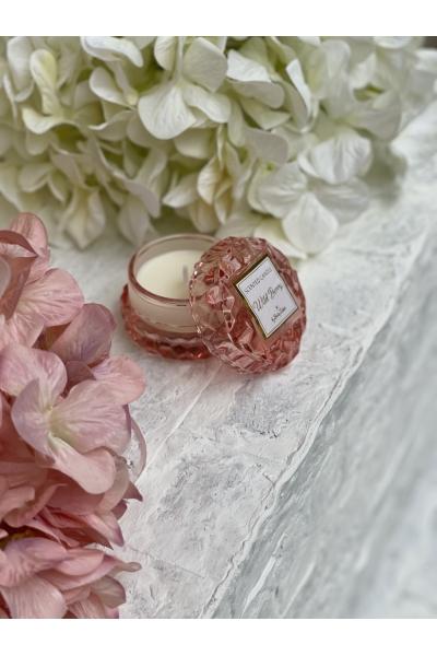 Μπομπονιέρα βάπτισης Αρωματικό κερί στρογγυλό ροζ απαλό γυάλινο rose