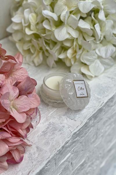 Μπομπονιέρα γάμου κερί αρωματικό σκαλιστό γυαλί λευκό