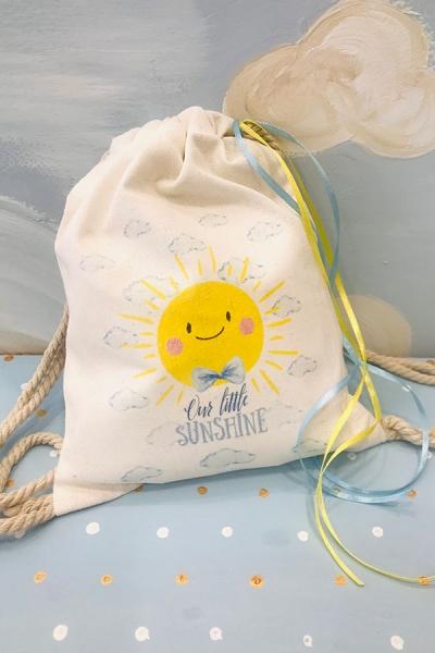 Μπομπονιέρα βάπτισης με θέμα ήλιος-sun σακίδιο