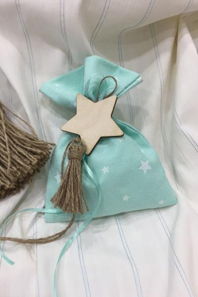 Μπομπονιέρα βάπτισης πουγκί με θέμα το αστέρι
